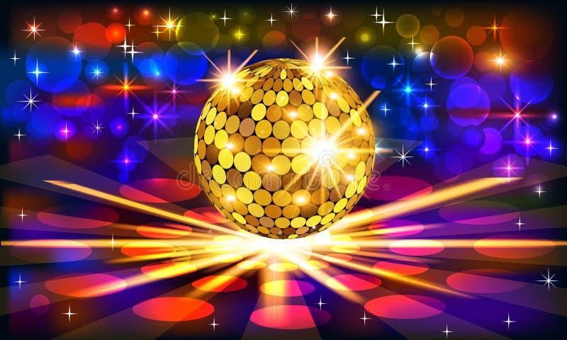 与金黄迪斯科球和光芒的明亮的背景 库存例证
