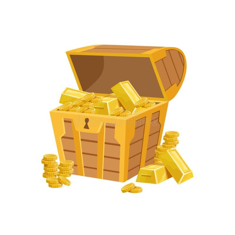 与金黄酒吧、暗藏的珍宝和财宝的半开放海盗胸口在闪光的奖励的来了设计变异 库存例证