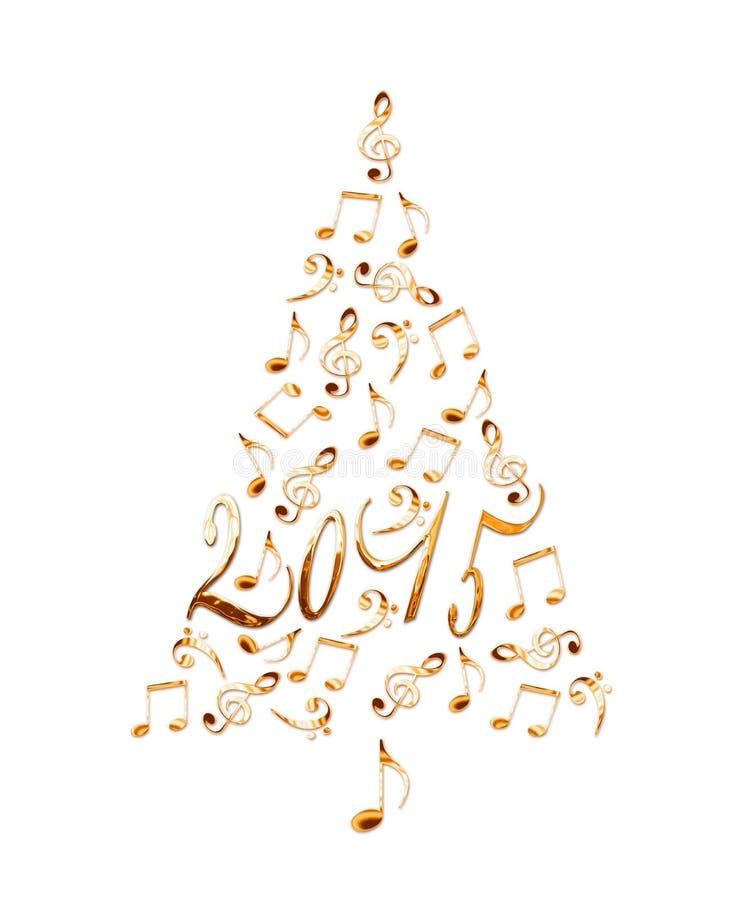 2015年与金黄金属音符的圣诞树 图库摄影