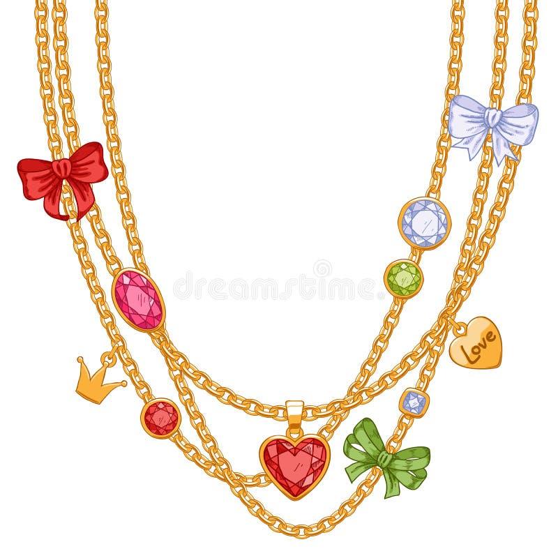 与金黄链子、宝石和弓的项链 向量例证