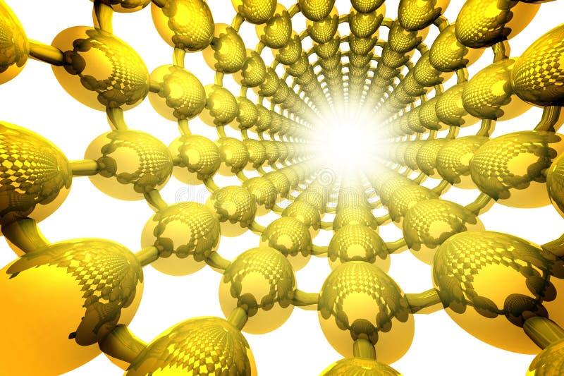 与金黄隧道的抽象几何背景由球形做成 库存例证