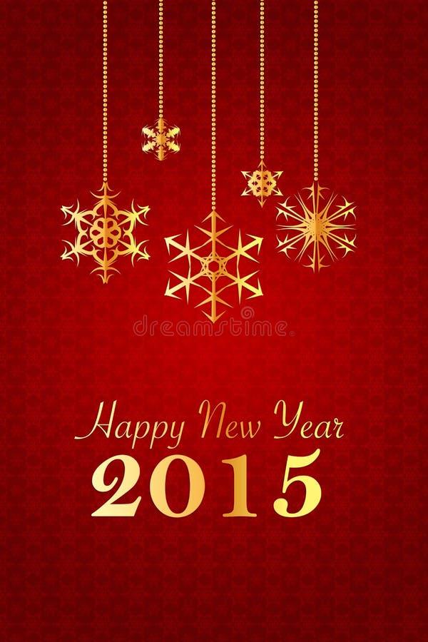 与金黄雪花的红色新年2015年背景 库存例证