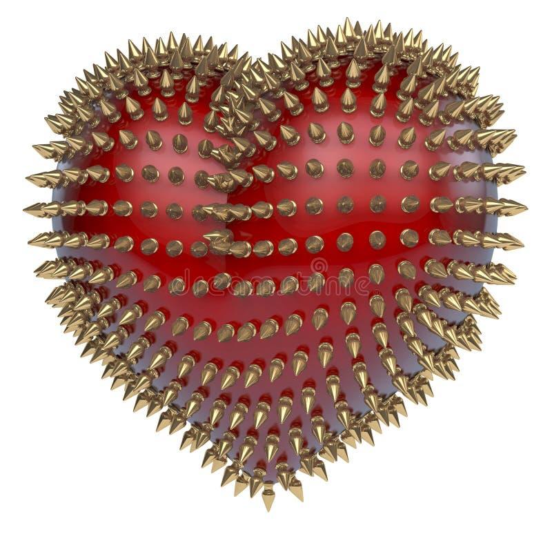 与金黄,卷毛样式金属钉的红色心脏 库存例证