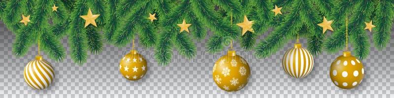 与针叶子、星和垂悬的圣诞节电灯泡的无缝的传染媒介针叶树分支在透明背景 皇族释放例证