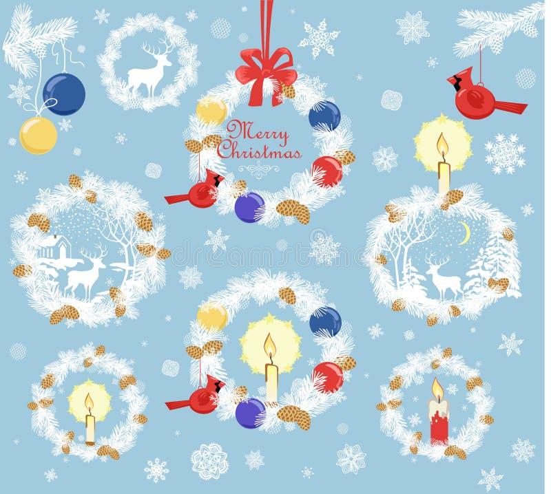 与针叶树分支、锥体、蜡烛、驯鹿、垂悬的北主要鸟玩具和球a的汇集纸被删去的xmas花圈 皇族释放例证