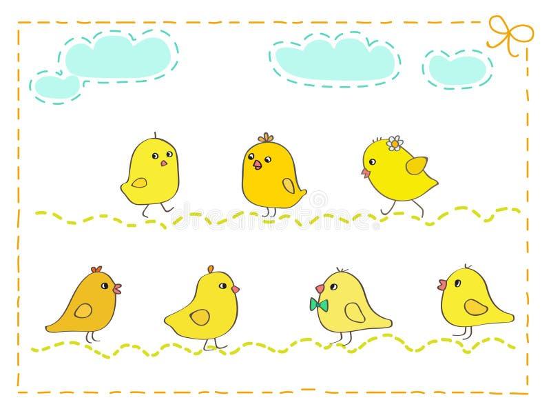 黄色录像鸡大巴_与针框架传染媒介例证的七只黄色鸡.
