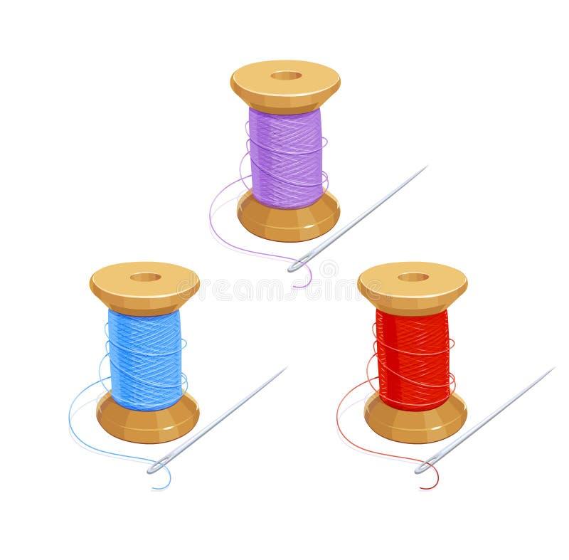 与针的色的螺纹卷轴 皇族释放例证
