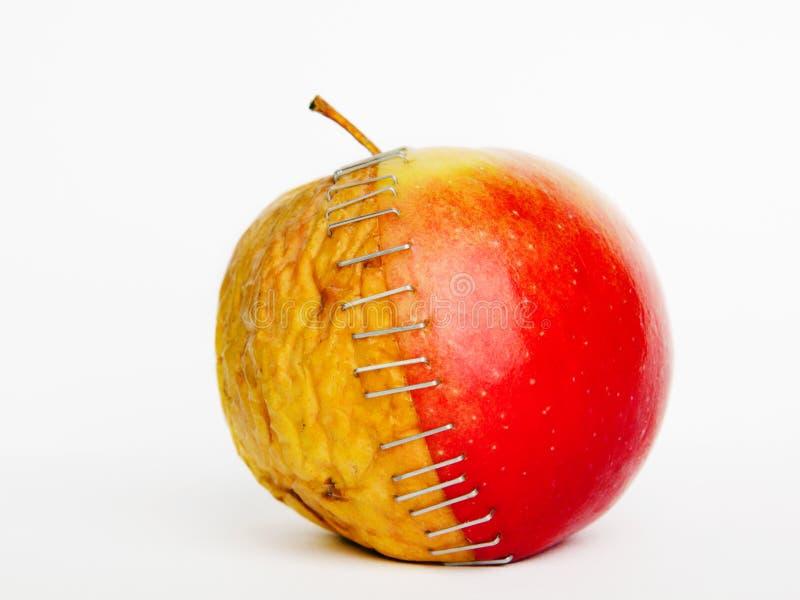 与钉书针的新红色和老黄色苹果一半在白色背景, 库存照片