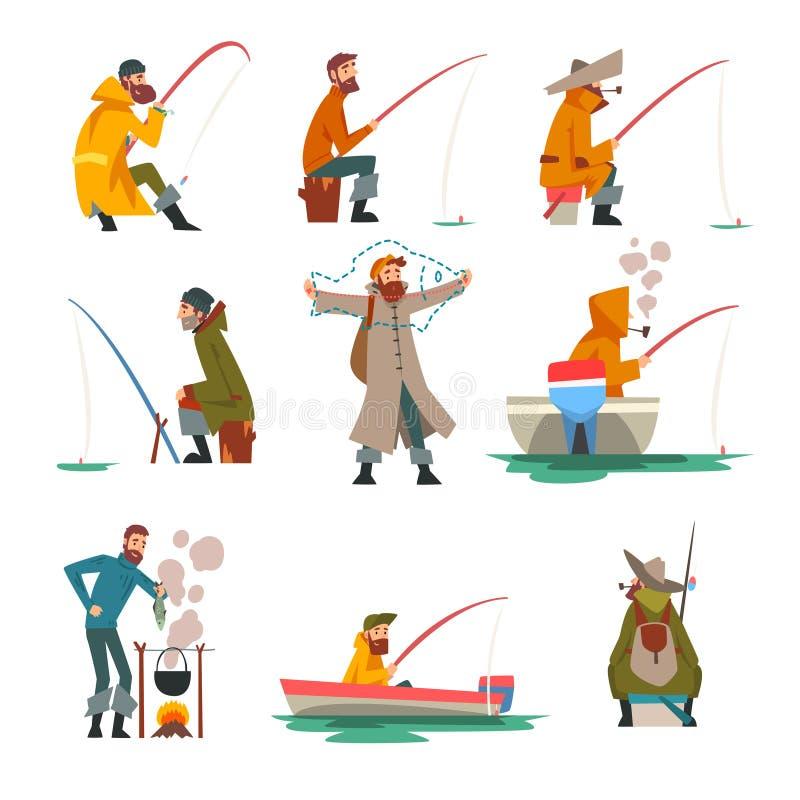 与钓鱼竿的渔夫钓鱼和在篝火传染媒介例证的烹调汤 向量例证
