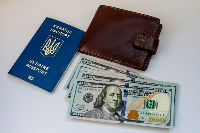 与钞票和钱包的乌克兰护照 库存照片