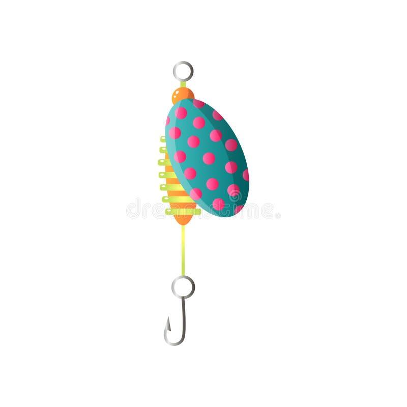 与钢勾子的平衡镶边昆虫鱼饵 向量例证