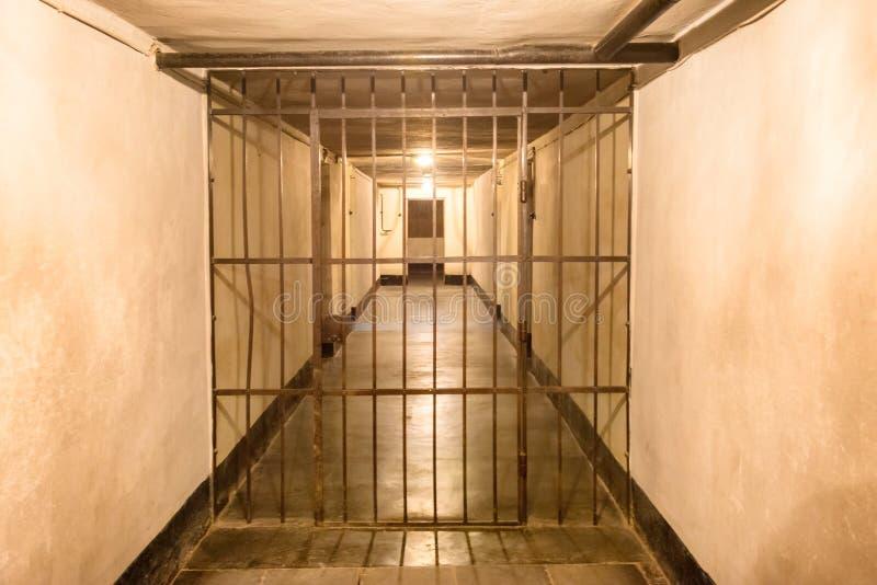 与钢棍的监狱牢房 库存照片