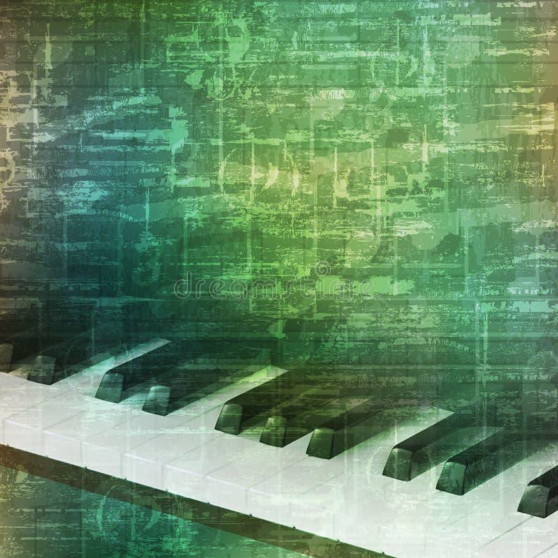 与钢琴钥匙的抽象难看的东西背景 库存例证