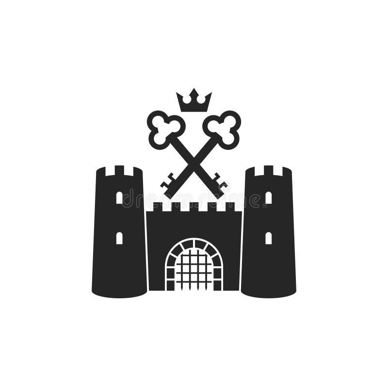 ?? ?? 与钥匙和冠的老城堡 向量例证
