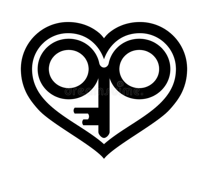 与钥匙的心脏在象或商标里面 在白色隔绝的黑例证 皇族释放例证