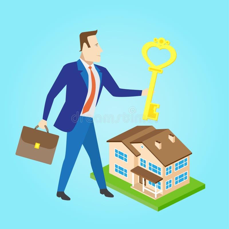 与钥匙的房地产开发商和房子塑造待售 皇族释放例证