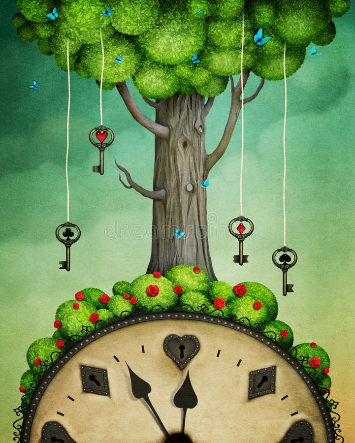 与钥匙的树 向量例证