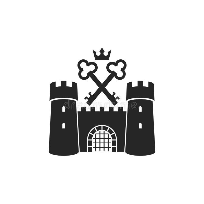 ?? ?? 与钥匙的老在白色背景的城堡和冠 皇族释放例证