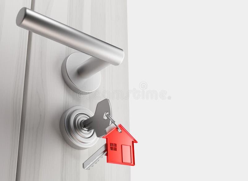 与钥匙的门,新的家,开放室, 3d回报例证 库存例证