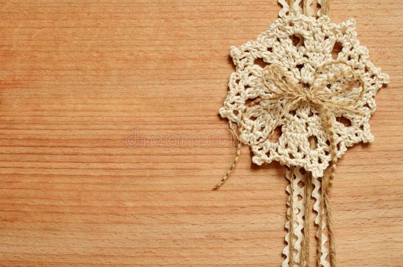背景和钩针编织鞋带 库存照片