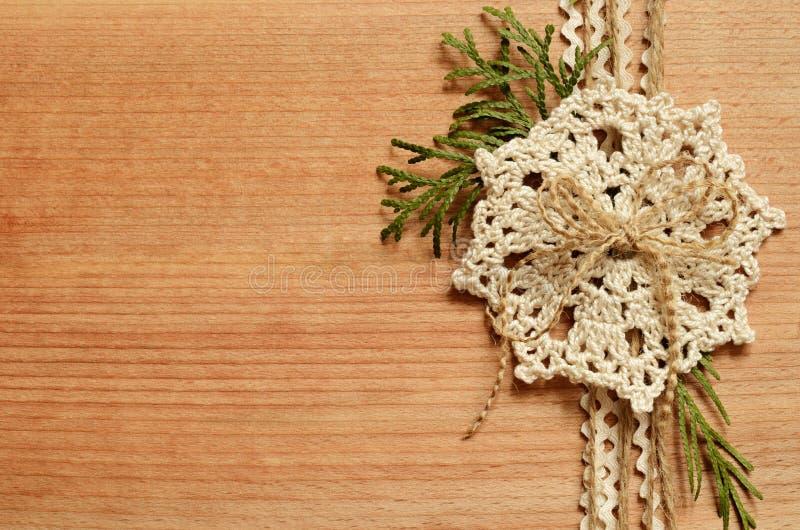 背景和钩针编织鞋带 库存图片