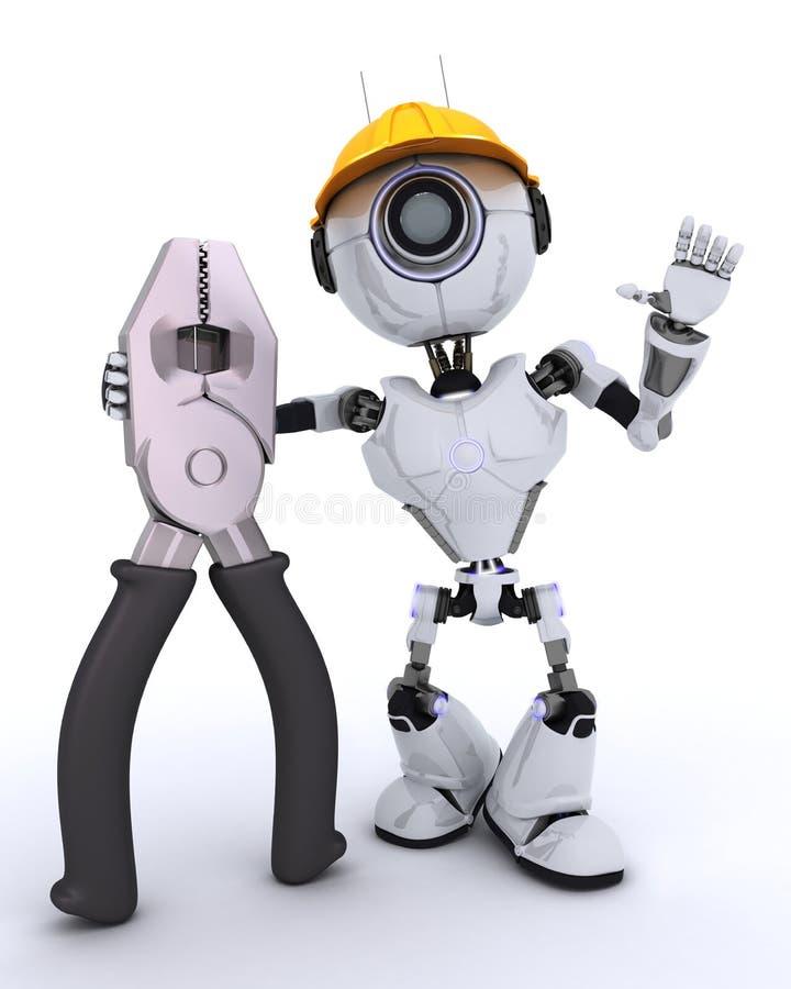 与钳子的机器人建造者 库存例证