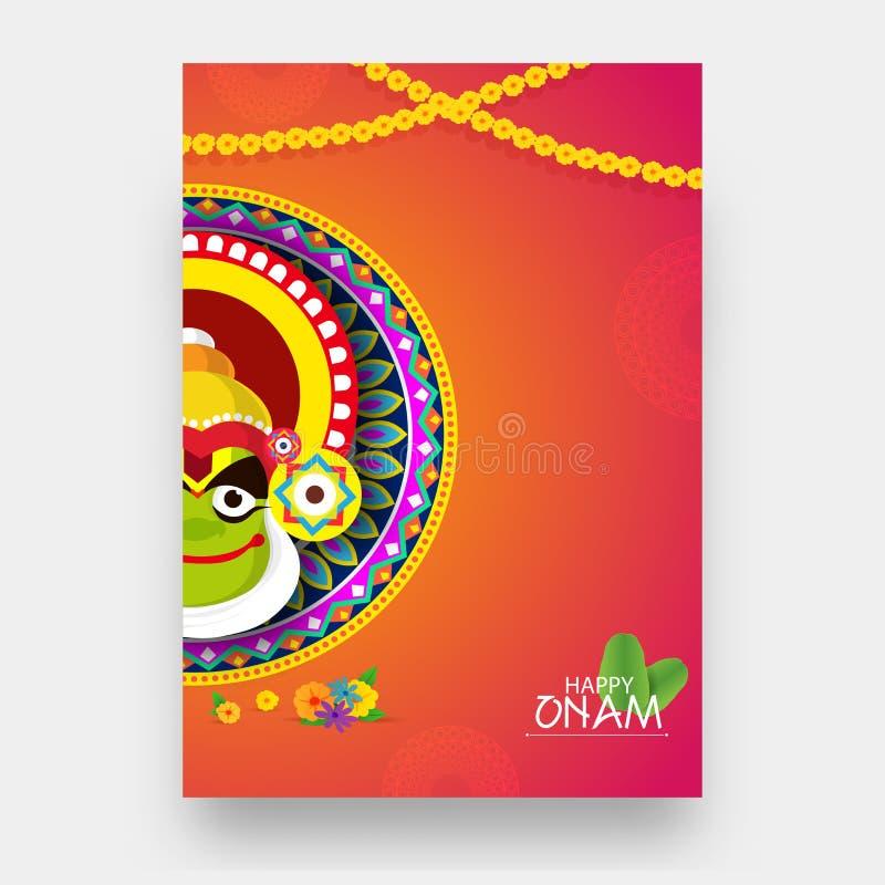 与钾的例证的愉快的Onam节日贺卡设计 皇族释放例证