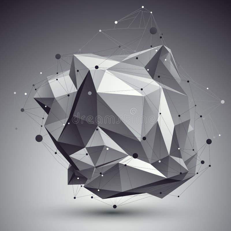 与铁丝网的几何单色多角形结构,现代 皇族释放例证