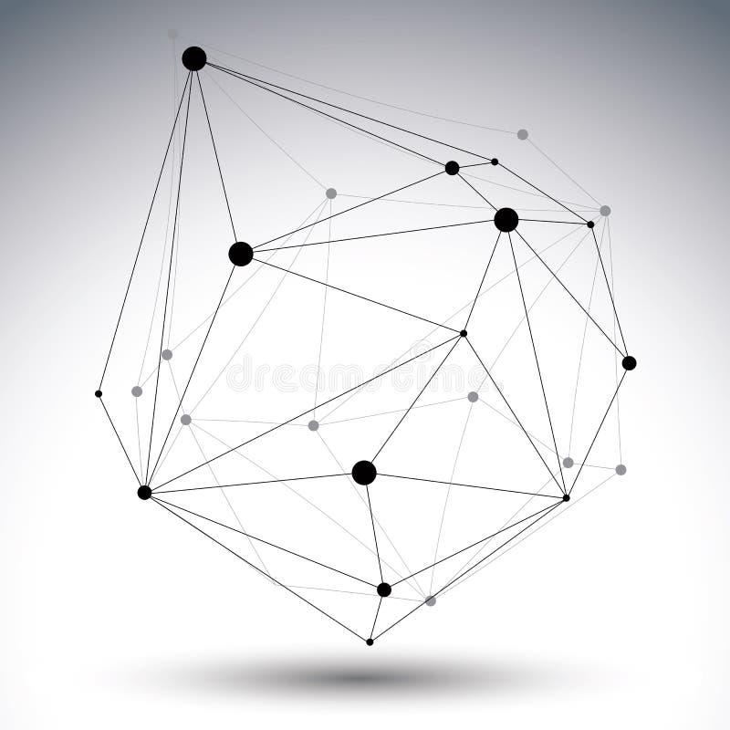 与铁丝网的几何黑白多角形结构 库存例证