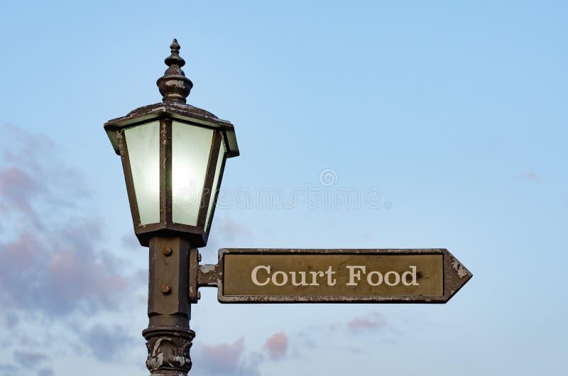 与铁标志的街道照明杆对食品店 库存图片