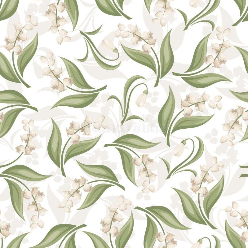与铃兰和snowdrop花的无缝的样式。 库存例证