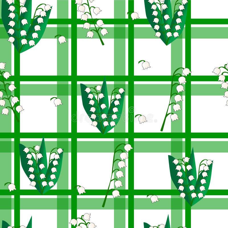 与铃兰的无缝的方格的绿色背景 向量例证