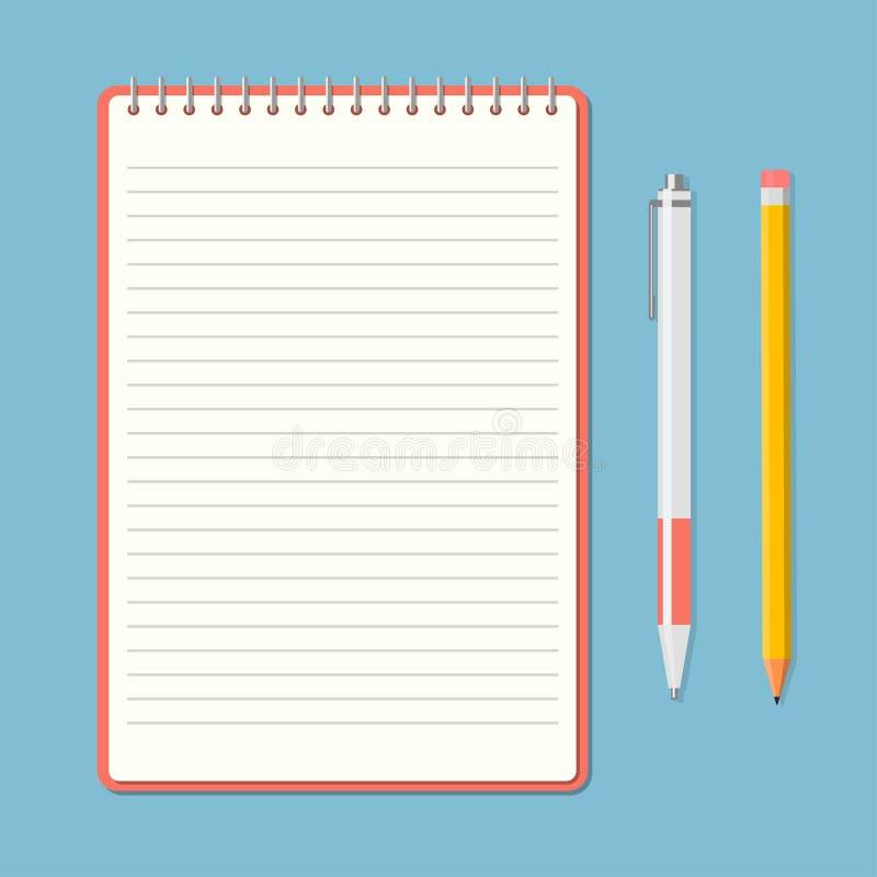 与铅笔和笔的被打开的笔记薄 库存例证