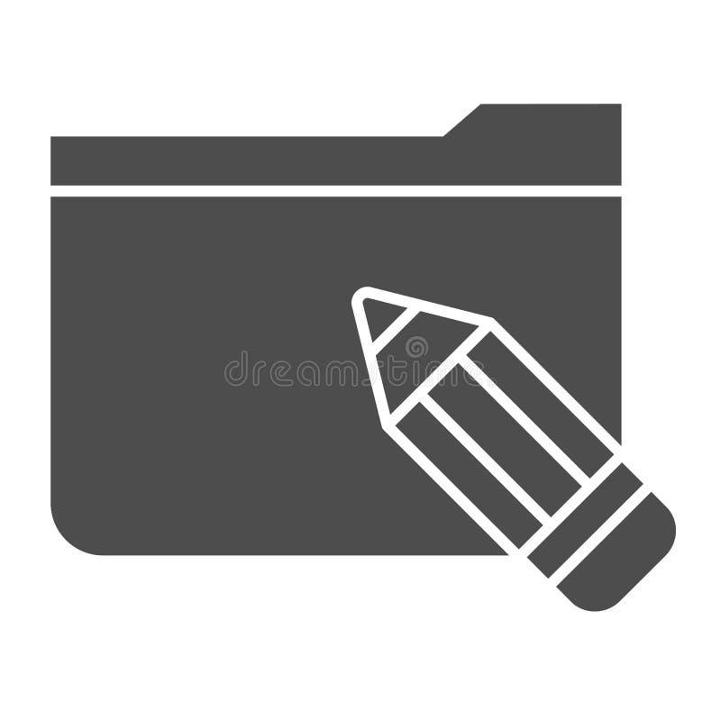 与铅笔坚实象的文件夹 与剪影在白色隔绝的传染媒介例证的文件夹 计算机文件夹纵的沟纹样式 库存例证