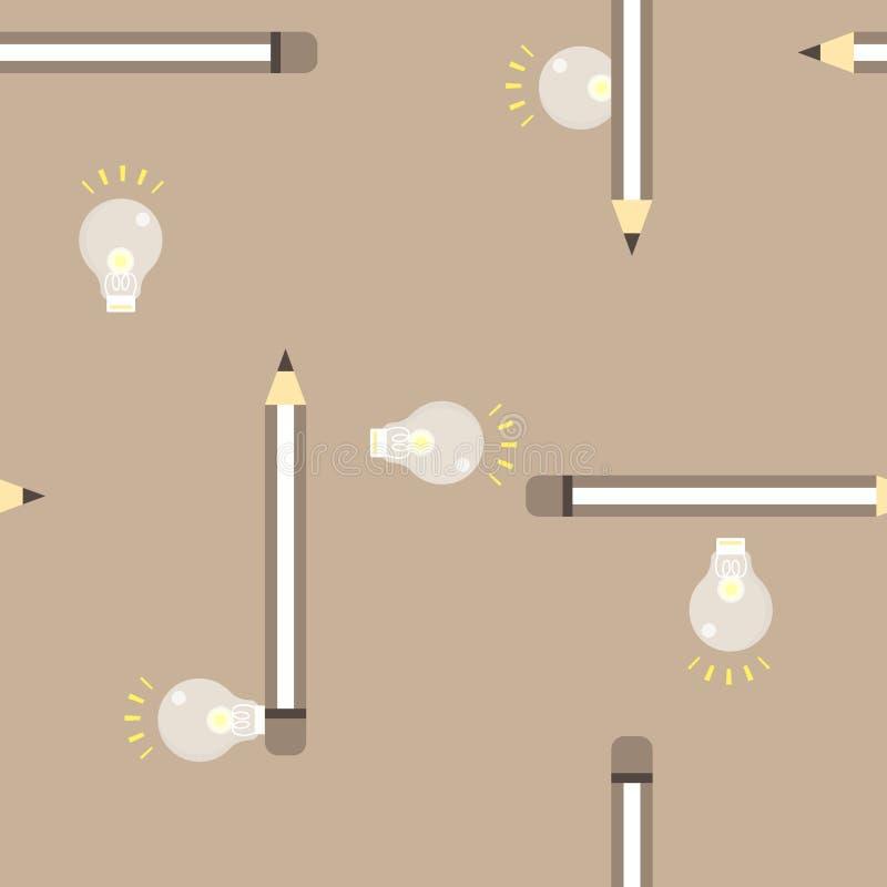 与铅笔木头颜色的无缝的逗人喜爱的电灯泡回到学校教育概念重复样式在棕色背景中 向量例证