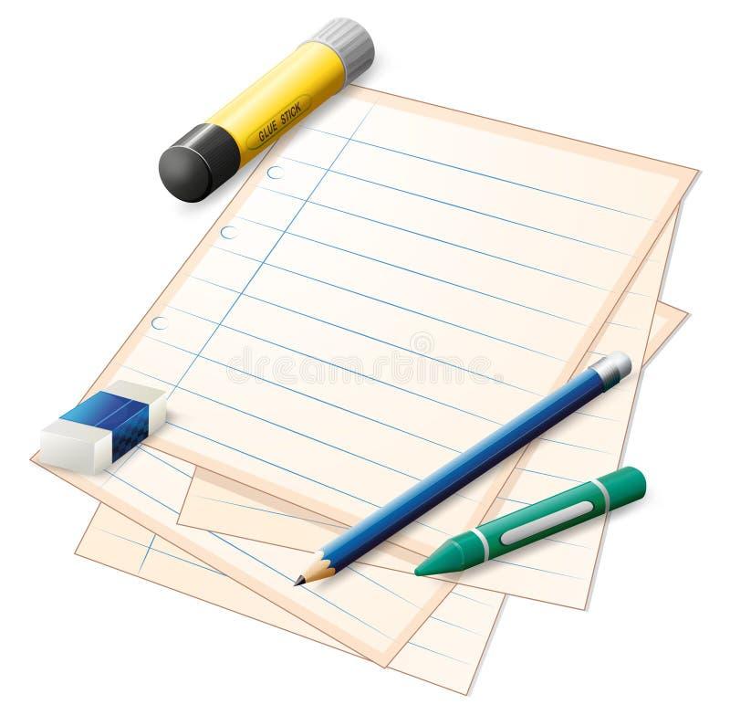 与铅笔的一张纸,蜡笔、橡皮擦和胶浆黏附 皇族释放例证