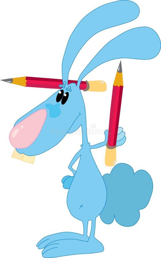 与铅笔的兔子 免版税库存图片