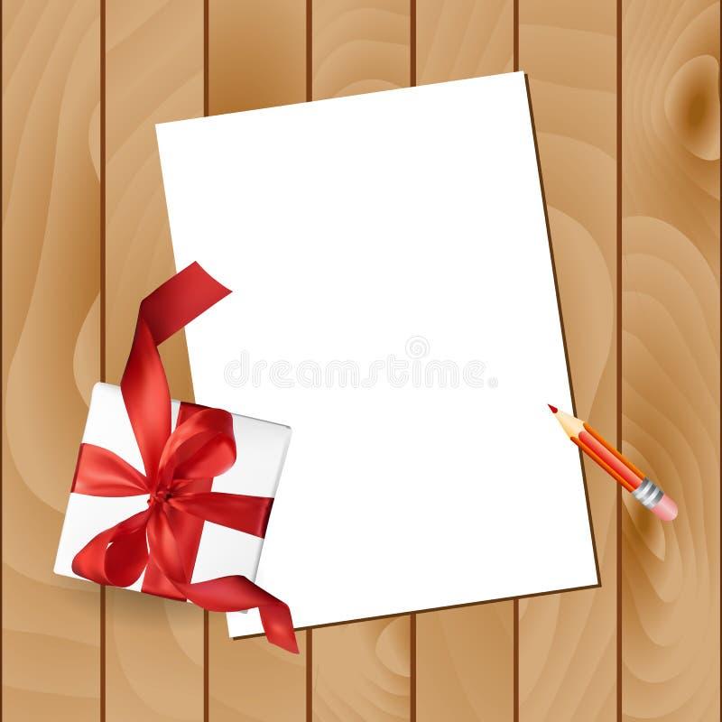 与铅笔的圣诞节信件和在木背景的一把礼物红色弓 传染媒介顶视图例证 皇族释放例证