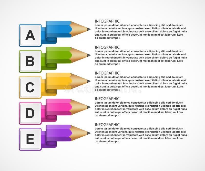 与铅笔的教育Infographics模板 库存例证