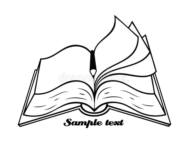 与铅笔的概述的查出的书 向量例证