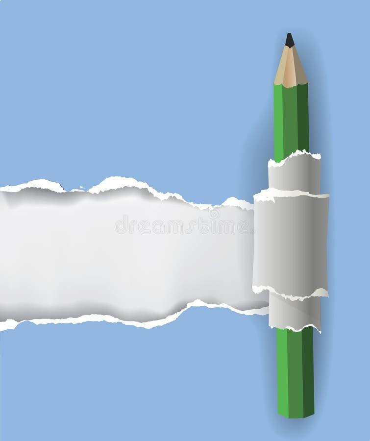 与铅笔的被剥去的纸背景 向量例证