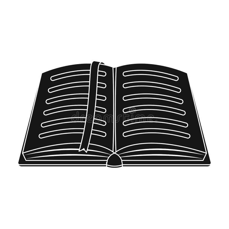 与铅笔的被打开的在顶视图的笔记薄和笔 写生簿或日志 有红色书签的笔记本 一个笔记本在学校 皇族释放例证