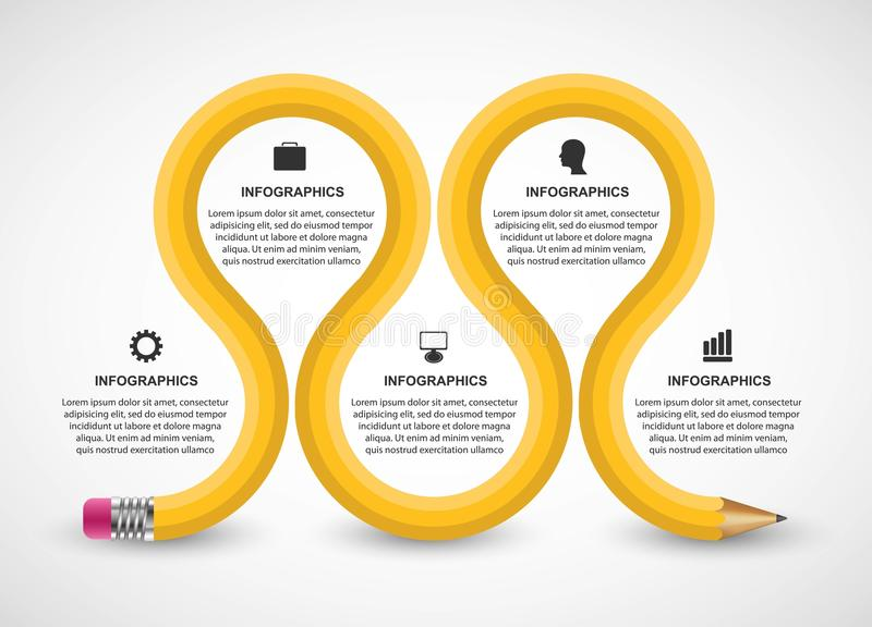 与铅笔的Infographics模板 企业介绍或信息横幅的Infographics 皇族释放例证