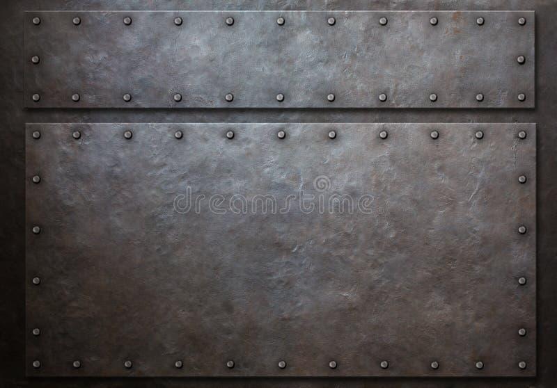 与铆钉的两个金属盘区金属化背景3d例证 皇族释放例证