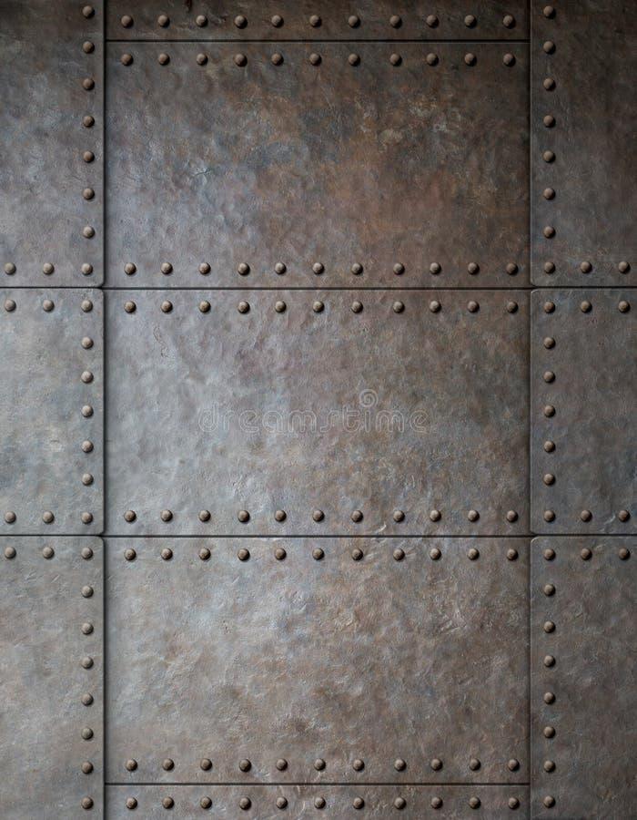 与铆钉的钢金属装甲背景 免版税图库摄影