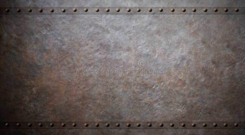 与铆钉3d例证的生锈的金属背景 皇族释放例证