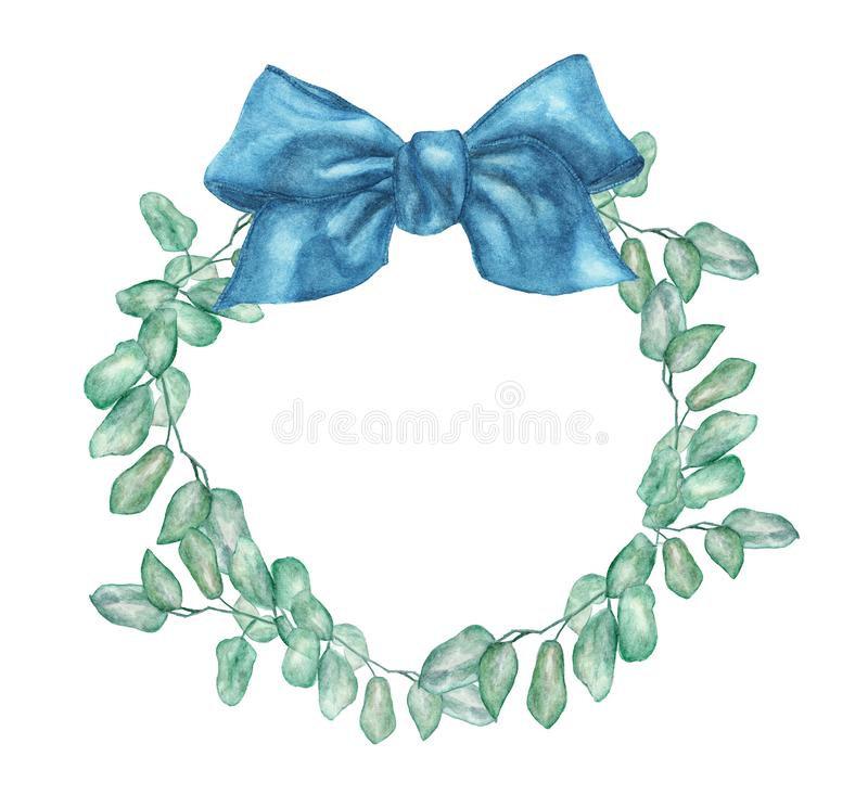 与银元玉树分支和蓝色弓的水彩花圈 向量例证