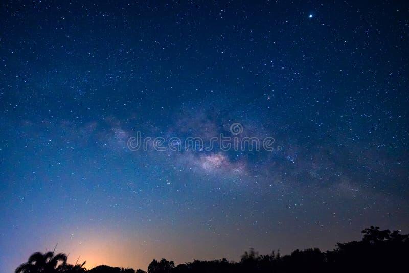 与银河星系的夜空 免版税库存图片