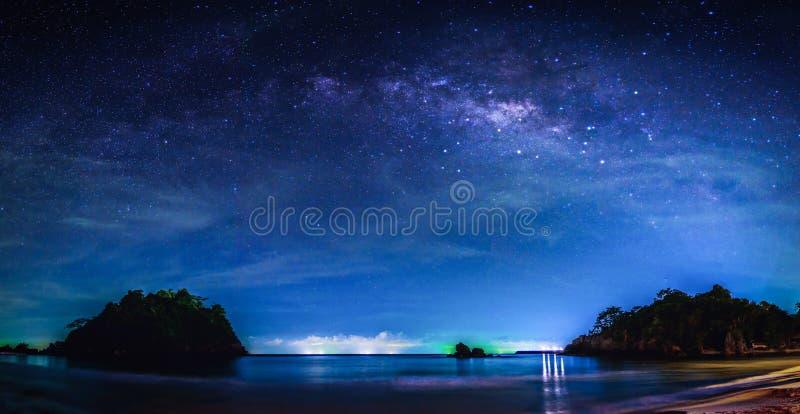 与银河星系的风景 与星的夜空和乳状 库存照片