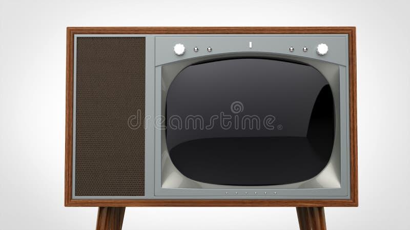 与银色前面的黑暗的木葡萄酒电视机 库存图片